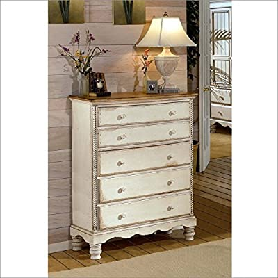 "Hillsdale Furniture 1172-785 Wilshire 42"" Chest with 5 Drawers Tongue and Groove Drawer Bottoms and Solid Pine Wood Construction in Antique"