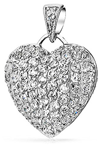 (Large Pave Cubic Zirconia CZ Puff Heart Shape Pendant Necklace For Women For Teen 925 Sterling Silver)