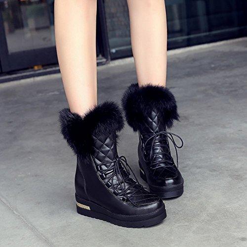 Carolbar Womens Sweet Cute Fashion Namaakbont Lace Up Mooie Warme Verborgen Hak Snowboots Zwart