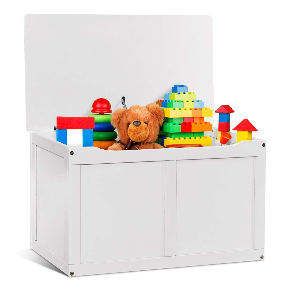 Costzon Toy Storage Chest Organizer, Wooden Toy Box with 2 Safety Hinge & Lid for Kids (White) by Costzon