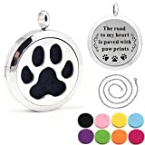 Kissreason Dog Paw Print Aroma Aromatherapy Essential Oil Diffuser Necklace for Women Girl Mother's Day Gift