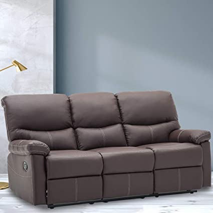 Reclining Sofa Leather Sofa Recliner Couch Recliner Sofa Manual (3 Seater)  for Living Room Brown