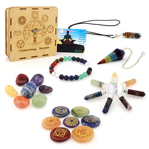 Premium Natural Healing Crystals 7 Chakra Kit 18piece - Engraved Stones, Tumbled Set, Bracelet, Pendant Necklace, Pendulum, Pyramid Energy Generator in Tree of Life Wooden Gift Box + E-Book