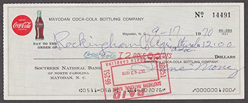 Coca-Cola Bottling Company Mayodan NC cancelled check 1970 ()