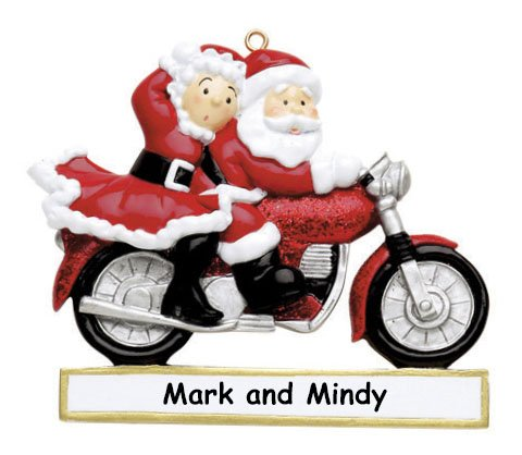 Christmas Motorcycle - Personalized Santa Claus and Mrs Claus on Motorcycle Christmas Ornament with Name - 3 Inches