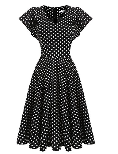 Beyove Women's Vintage A-Line Straps Retro Rockabilly Cocktail Prom Dresses Black White Polka Dot - Prom Black Dresses White