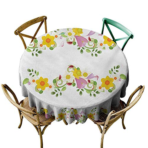 Wendell Joshua Pink Tablecloth 60 inch Daffodil,Horizontal Leaf and Flower Motifs Laurel Fairy Mother Earth Habitat Gardening Theme,Multi Indoor/Outdoor Spillproof Table Cloth