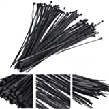 Cable Ties Reusable Nylon Cable Ties - 100Pcs Plastic Nylon Cable Ties Zip Wire Wrap Strap ( Black Cable Ties)