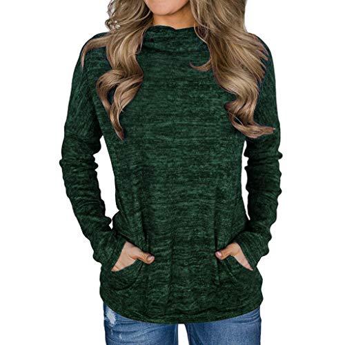 Inverlee Women Cowl Neck Striped Long Sleeve Drawstring Pullover Top Sweatshirt Pockets ()