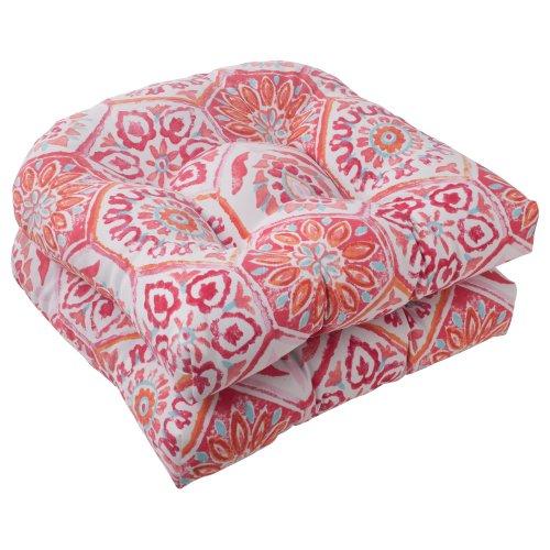Pillow Perfect Indoor/Outdoor Summer Breeze Wicker Seat Cushion, Flame, Set of 2 (Breeze Furniture Patio)