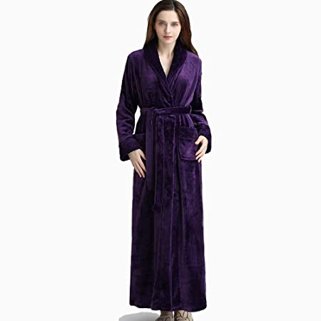 0b6b5f6cc6e0 HONGNA Autumn And Winter Flannel Stitching Gown Long Paragraph Men And  Women Couple Pajamas New Bathrobe (color   PURPLE)  Amazon.co.uk  Kitchen    Home