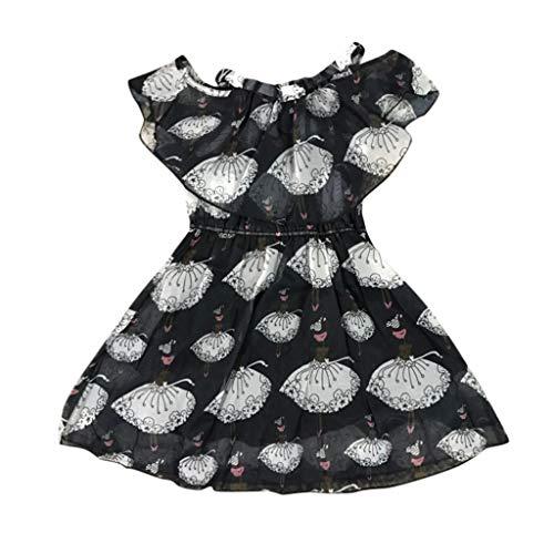 ❤️ Mealeaf ❤️ Children Kids Girl Short Sleeve Cartoon Print Floral Princess Off Shoulder - Type Print 160 Black