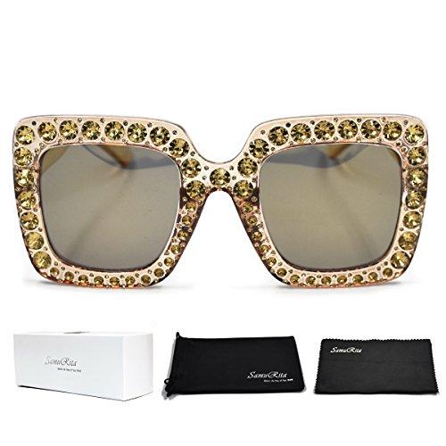 SamuRita Elton Square Diamond Rhinestone Sunglasses Novelty Oversized Celebrity Shades(Dark Gold Frame/Dark Gold - Glasses Rhinestone