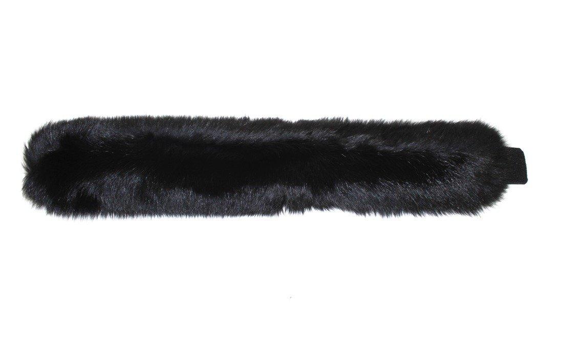 715144 New Black Dyed Fox Fur Headband Hat Collar Head Wrap Cute Accessory