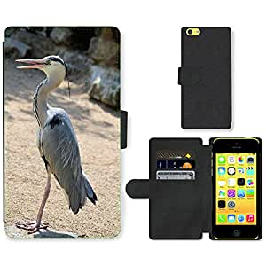 Hot Style Cell Phone Card Slot PU Leather Wallet Case // M00109567 Heron Bird Animal Nature Silver // Apple iPhone 5C