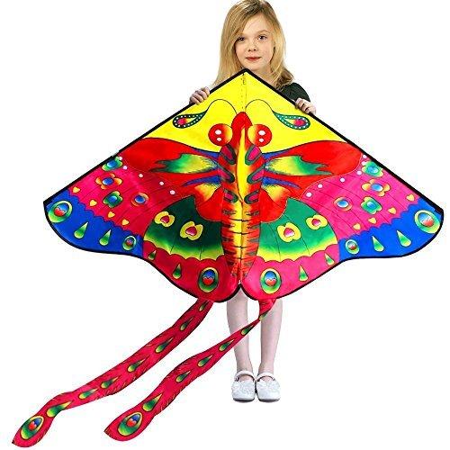 Red Heart Kite - Hengda Kite So Beautiful Loving Heart Butterfly Kite Single Line Kite Incudes 30m String and Handle