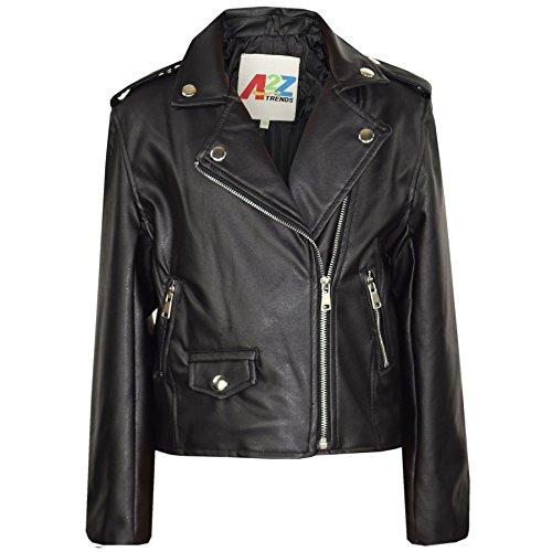 A2Z 4 Kids/® Kids Jackets Girls Designers PU Leather Wine Jacket Zip Up Biker Coats 5-13 Yr