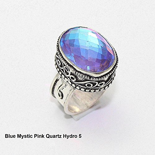 Overlay Silver Vintage (Blue Mystic Pink Quartz Hydro Ring Silver Overlay Fashion Jewellery Vintage Handmade Jewelry 7.25 US Size.)