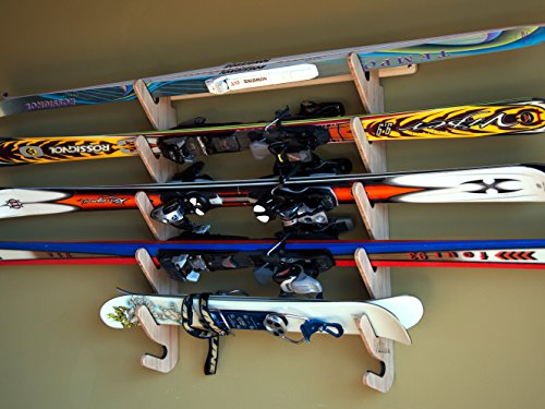 Bamboo Ski Rack for 4 or 5 Pairs of Skis - Grassracks Hallsteiner Pro by Grassracks