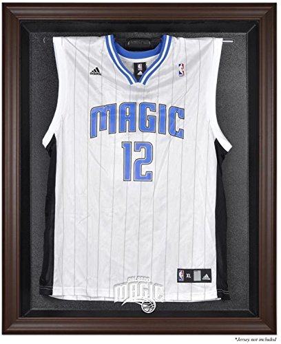 Orlando Magic Brown Framed Logo Jersey Display Case (1 Orlando Magic Authentic Jersey)