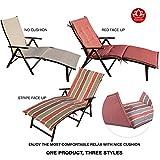 Kozyard Cozy Aluminum Beach Yard Pool Folding Reclining Chaise Lounge Chair (Beige with Red Cushion)