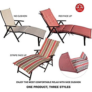 Kozyard Cozy Aluminum Beach Yard Pool Folding Reclining Chaise Lounge Chair  (Beige With Red Cushion)