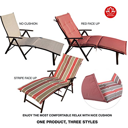 Kozyard Cozy Aluminum Beach Yard Pool Folding Reclining Chaise Lounge Chair (Beige with Red Cushion) Red Outdoor Chaise