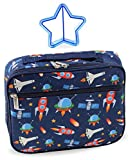 Lunch Box Outer Space Rocket Ships in Dark Navy Blue with Matching Sandwich Cutter (Outer Space)