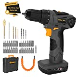 Cheap DETLEV PRO Cordless Drill Driver 21V Electric Screwdriver 2 Speed Max Torque 372In-lbs 42pcs Accessories 2.0Ah Lithium Ion with LED, 8104