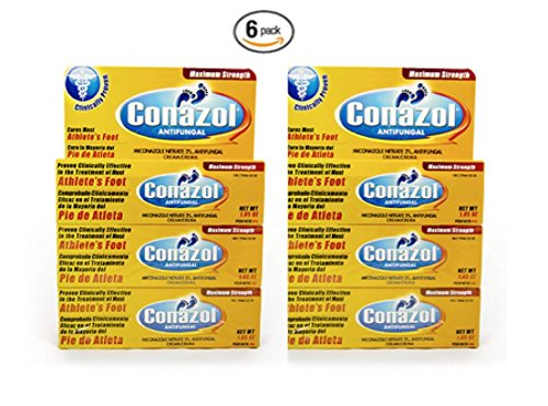 Conazol Cream Anti Fungal with Miconazole Nitrate 2% Clinically Proven Effective to Cure Athlete's Foot, Jock Itch and Ringworm, Maximum Strength Formula, 6 Pack