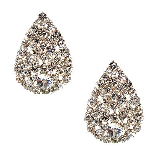 - Silver Crystal Rhinestone Pave Pear Teardrop Shaped Stud Earrings