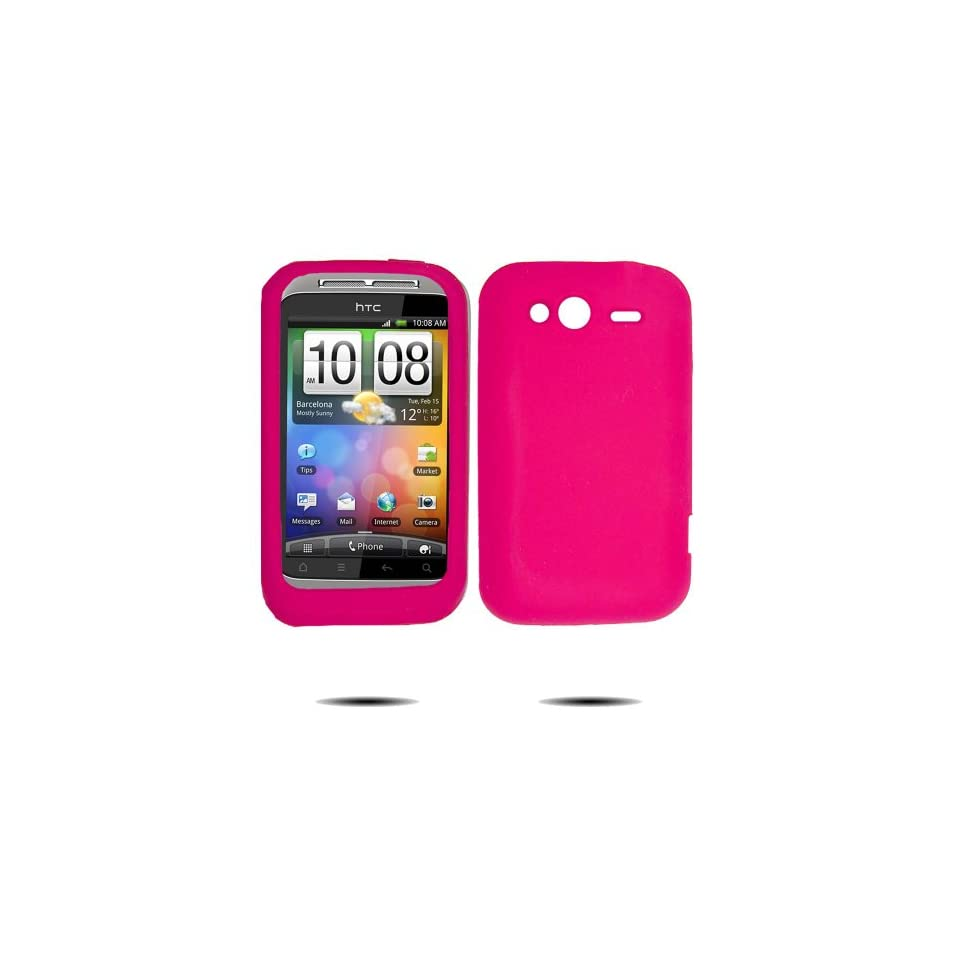 Hot Pink Silicone Skin Case / Rubber Soft Jelly Sleeve Protector Cover for HTC Wildfire S 6230 Cellphone (Metropcs Virgin Mobile U.S.Cellular)