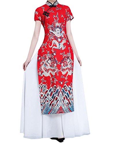 up Sleeves Long Women Red Elegent Coolred Cheongsam Collar Dress Stand Short nPqAxPCwF