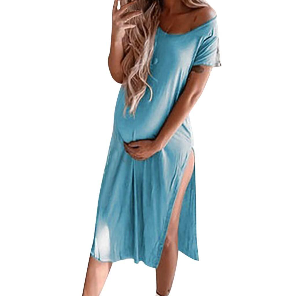 chuxin Huang❤️Women Sexy Solid Maternity Pregnant V-Neck Short Sleeve Nursing Mini Dress Blue
