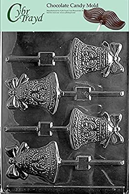 Cybrtrayd W008 Bell Lolly Chocolate Candy Mold with Exclusive Cybrtrayd Copyrighted Chocolate Molding Instructions