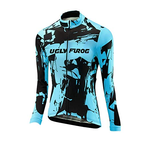 Uglyfrog Long Sleeve Cycling Jersey Women with 3 Pockets,Breathable Quick Dry Bike Jersey,High Elastic Anti Wrinkle Breathable Reflective Road Mountain Bike Shirts ()