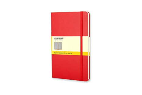 moleskine squared red notebook large