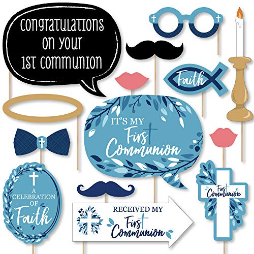 First Communion Blue Elegant Cross - Boy Religious Party Photo Booth Props Kit - 20 Count Boy First Communion Cut Out