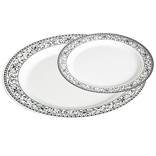 Premium 50 Pack White with Silver Celebration Plastic Plates - Includes 25 Dinner Plates and 25 Salad Plates by Alpha & Sigma