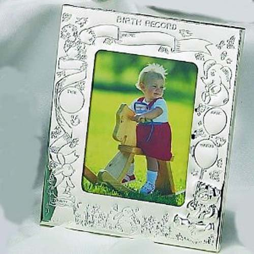 Elegance Silver Silver Birth Record Photo Frame
