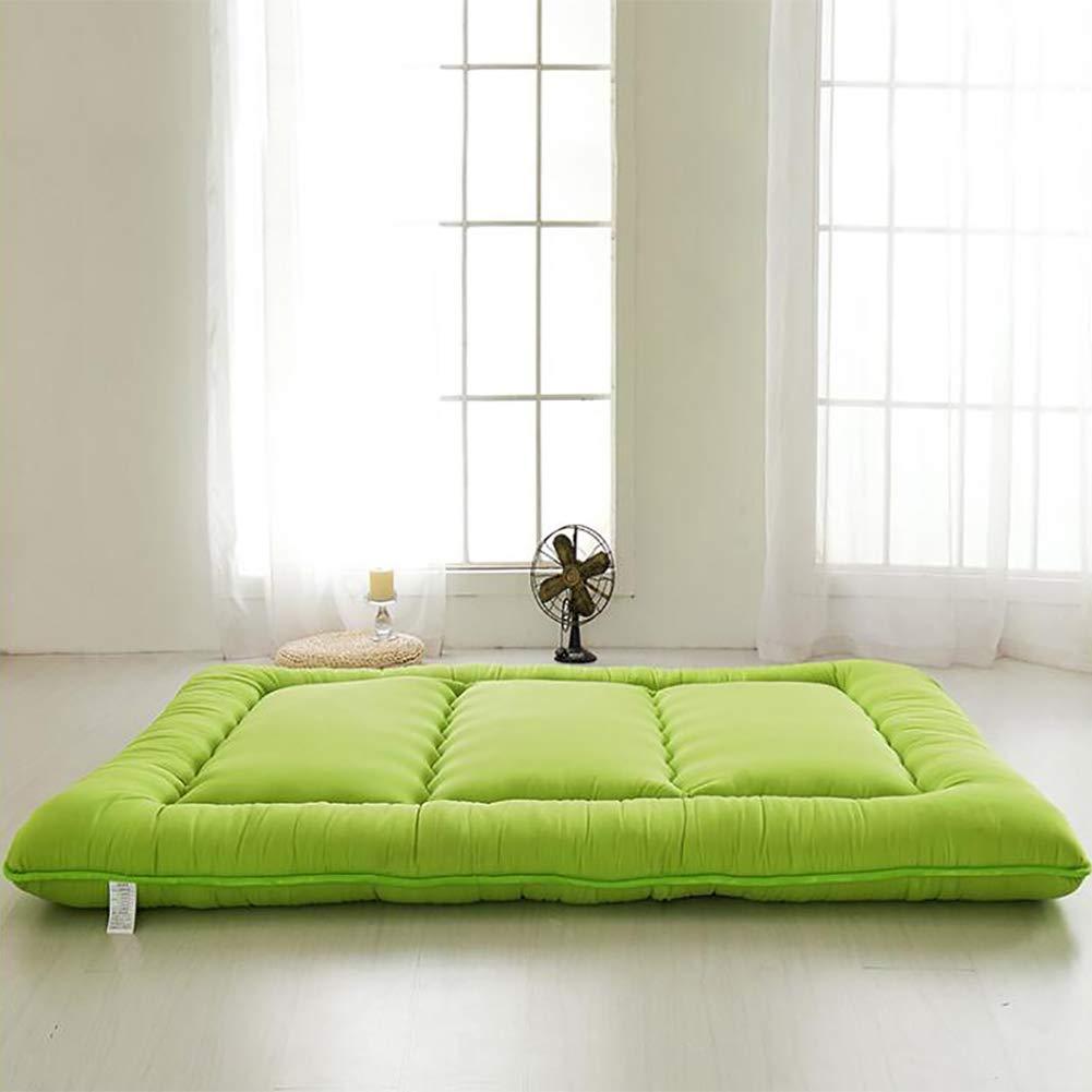 厚め ベッドパッド, 和風 布団 マットマット 柔らか 式 マットレスをロールアップします。 の 1 ダブル マットレス ホーム 学校-緑 B07RY9732M