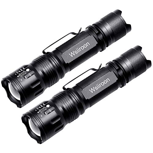 LED Flashlight - Wsiiroon Ultra Bright Handhold Flashlight with Belt Clip - Waterproof, Portable, 5 Light Modes, Zoomable for Indoor and Outdoor Use, 2 pack (Batteries Not Included) -