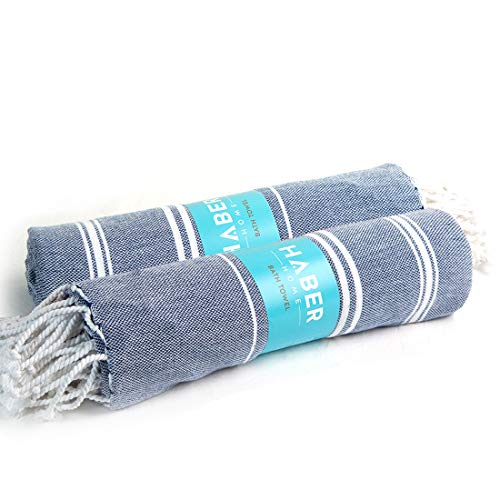 "HABER Turkish Style Towel - Pack of 2 Multipurpose, Quick Dry Premium Bath Towel, Luxury Towel Set -Use as Fouta Towel, Travel Blanket, Yoga or Gym Towel 30"" X 60"" (Blue & Blue)"