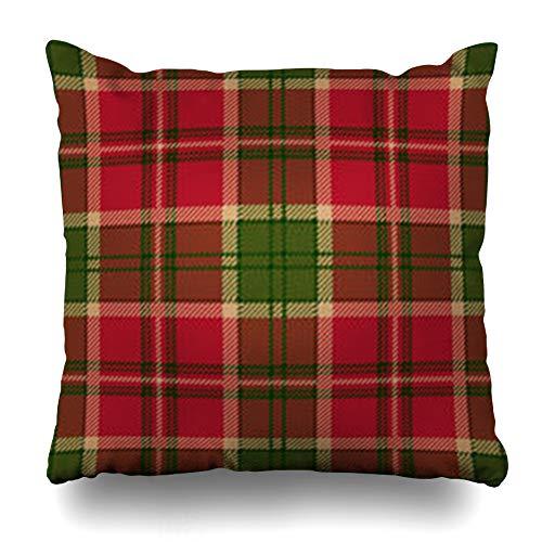 Homeyard Throw Pillow Cover Beige Plaid Green Tartan Red Checkered British Clan Culture Fab Home Decor Sofa Cushion Square Size 16 x 16 Inches Zippered -