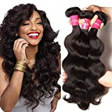 Longqi Beauty Brazilian Body Wave Hair 3 Bundles 100% Unprocessed Human Hair Bundles Virgin Brazilian Hair Body Wave Remy Hair Extension(16 18 20inch, Natural Color)