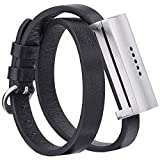 V-Moro Compatible Fitbit Flex 2 Bands/Choker Necklace, Double Tour Genuine Leather Replacement Wristband Bracelet Strap with Stainless Metal Housing for Fitbit Flex 2(Double Tour Black)