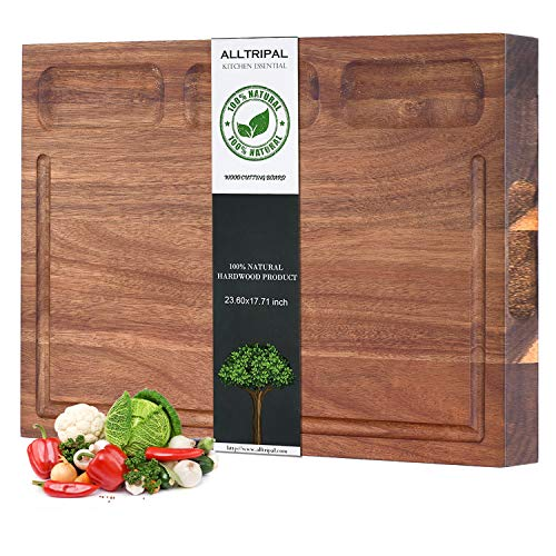 Multipurpose Thick Organic Acacia Wood Cutting Board Large Reversible Kitchen Cutting Boards: 23.6x17.7x1.4 inch Juice Groove & 3 Cracker Holder (Wood Cutting Board With Groove)