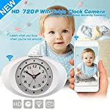 Online-Enterprises Hidden Camera w/Alarm Clock HD 720P / IP wifi access online / Use as a baby monitor, watch pets or use as a spy camera with 11 auto IR lights / Save video to cell phone