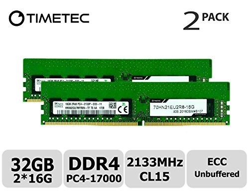 - Timetec Hynix 32GB Kit (2x16GB) DDR4 2133MHz PC4-17000 Unbuffered ECC 1.2V CL15 2Rx8 Dual Rank 288 Pin UDIMM Server Memory RAM Module Upgrade (32GB Kit (2x16GB))