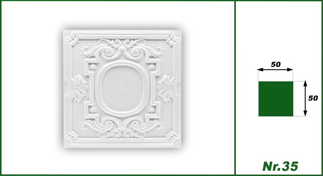 35 Pacchetto pannelli soffitto styr gomma piastre stucco soffitto pitture 50/x 50/cm N